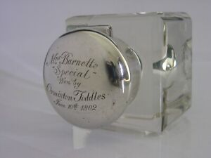 CHESTER ENGLISH STERLING SILVER PRESENTATION INKWELL 1900 ANTIQUE VICTORIAN