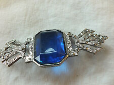"""Beautiful Brooch Pin Silver Tone Texture Faceted Large Blue Rhinestone 3 x 1"""""""