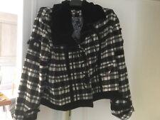 blouson Enjoy laine mélangée noir blanc col velours taille 44 neuf