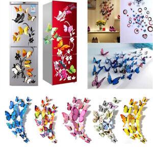 12X 3D Butterfly Wall Sticker Removable Decals Kids Nursery Wedding Decor Mu*BI
