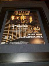 Megadeth Crush 'Em Rare Original Radio Promo Poster Ad Framed! #2