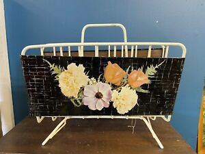 Vintage 1950s Atomic Style Metal Wire Magazine Rack with Floral Motif
