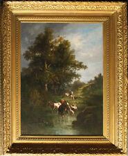 """CORTES, André  1815 – 1880 BARBIZON Maler  """"Landschaft mit Tieren"""" SIGNIERT"""