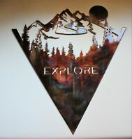"""EXPLORE!   The Mountains are Yours to Explore Metal Wall Art 21"""" x 19 1/4"""""""