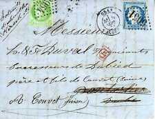 ALGERIE Timbre de France sur lettre GC 5051 + GC 2964 pour aller en Suisse