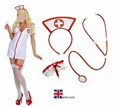 ADULT SEXY NURSE Fancy Dress Costume Naughty Hen Party Ladies Outfit Uniform UK