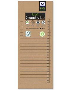 Eco Essentials Brown Kraft Magnetic Refrigerator Shopping List Pad 80 Sheets
