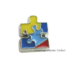 10pcs Autism Awareness Floating Charms for Glass Locket Free Shipping FC154