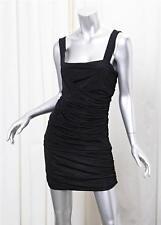 PIERRE BALMAIN Womens Black+Navy Striped Knit Ruched Shift Mini Dress 42/8 NEW