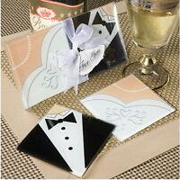 25 Bride & Groom (50) wedding ball ceremony bomboniere favor glass coaster set