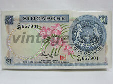1972 SINGAPORE ORCHID $1.00 HSS W/SEAL C/43 657901-00 P-1d UNC *RUNNING NUMBER*