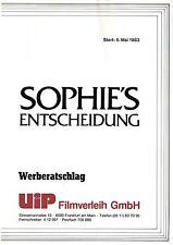 Sophie's Choice German press kit Meryl Streep, Kevin Kline, Peter MacNicol Karin