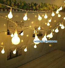 Outside Garden Lights String Fairy 100 Warm White LED Globe Ball 33ft UK Plug-in