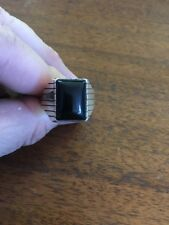 Navajo Mens Silver Black Onyx Ring Ray Jack Size 14 Native American #A