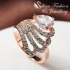 18K Rose Gold Plated Simulated Diamond Sparkling Butterfly Wing Teardrop Ring