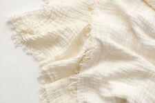 100% Linen Throw Blanket Large Soft Luxurious Coverlet Bedspread in Ivory White