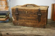 Antique Machinist Tool box Wood Crate Ammo Chest Western Cartridge rifleman Vtg