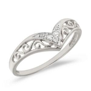 10K White Gold Filigree Band Diamond Chevron Ring (Size 7.5)