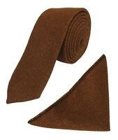Mens Boys Cinnamon Brown Tweed Slim Tie and Pocket Square Handkerchief Hanky Set