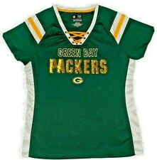 Green Bay Packers NFL 1st & Fashion Jersey Lace Up W/ Sequins Sz Lg Woman