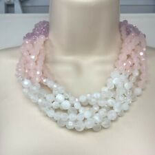 Sugarfix by BaubleBar Womens Multi Strand Beaded Necklace Pink White Plastic
