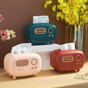 Retro Radio Model Tissue Box Desktop Paper Holder Vintage Napkin Dispenser