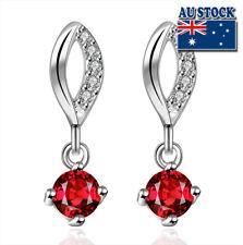 Wholesale 925 Sterling Silver Filled Red Zircon Crystal Tear Drop Dangle Earring