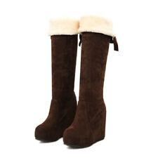 Fashion Women's Knee High Boots Wedge Heel Platform Winter Suede Winter Shoes US