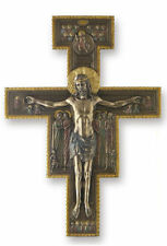 "San Damiano Crucifix Cross Sculpture 10"" Tall Wall Plaque"