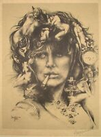 Ari Harpaz Pencil & Plate Signed & Dated 74 Lithograph Naked Women on Smoking