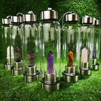 Natural Reiki Quartz Crystal Obelisk Point Elixir Water Bottle Rock Wand Healing