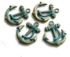 Brass Anchor Pendant Charm Green Patina Bead Nautical DIY Jewelry Making F460