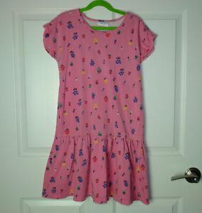 Girl's Hanna Andersson Short Sleeve Drop Waist Floral Print Pink Dress 150 READ