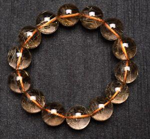 16mm Natural Hair Rutilated Quartz Crystal Round Bead Bracelet