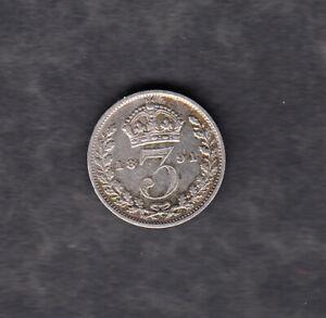 Großbritannien - Threepence 1891 in schöner Erhaltung, Silber