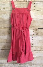 Girls Vintage California JCPenney Muted Red Cotton Tie Straps Sun Dress - Size 8