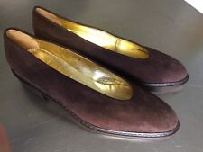 Exquisite Quality WALTER STEIGER Brown Suede Flats Pumps Handmade Italy 8.5