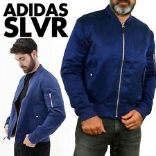 Adidas SLVR Bomber Jacket Mens NightSky Blue Orange Arm Hole JKT BNWT M SILK