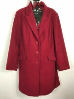 WOMENS M&S MARKS & SPENCER CRIMSON PINK BUTTON UP COAT WITH COLLAR SIZE UK 18