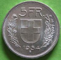 SUISSE 5 FRANCS 1954 B ARGENT °