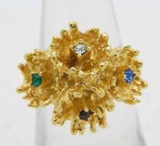 VTG CROWN TRIFARI Gold Tone Multi-Color Rhinestone Flower Ring Size 6
