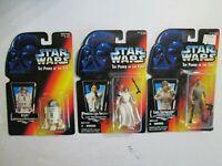 3 STAR WARS THE POWER OF THE FORCE FIGURINES R2-D2, LEIA, LUKE SKYWALKER NRFB