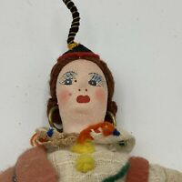 Vintage Cloth Hand Puppet Doll Italy? Gypsy Woman Earrings
