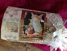 Baptism Candle Set White/ SET PARA BAUTIZO CAJA DE MADERA /ANGEL DE LA GUARDA