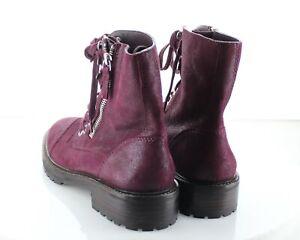 69-01 NEW $380 Women's Sz 7.5 M Paige Marline Leather Combat Boot - Burgundy