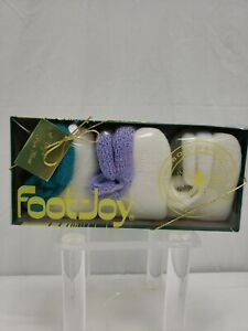 Women Foot-Joy Roll Top Vintage Golf Socks Set of 3 White With Teal/Purple/White