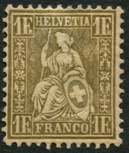 SWITZERLAND - 1864 1Fr 'GOLD' SG60a MH Cv £1700 [A7533]*