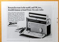 Zenith 9-band Trans-Oceanic radio Vintage  Magazine Print Ad 1968
