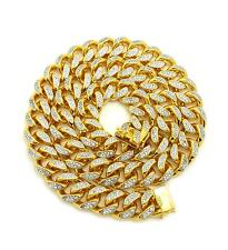 """New Hip Hop Iced out 19mm 30"""" Heavy Gold Plated Brass CZ Stone Chain GN049G"""