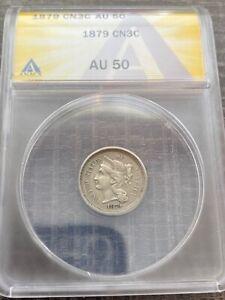 AVC - 1879 THREE CENT NICKEL ANACS - AU50